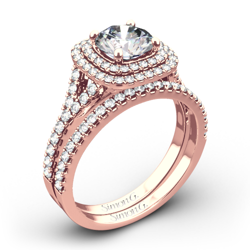 Simon G. MR2459 Passion Halo Diamond Wedding Set