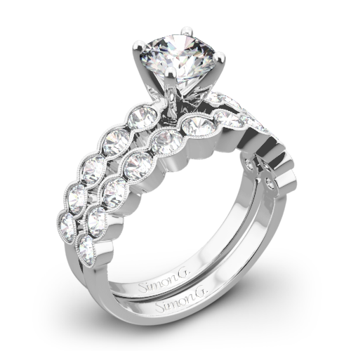 Simon G. MR2566 Caviar Diamond Wedding Set