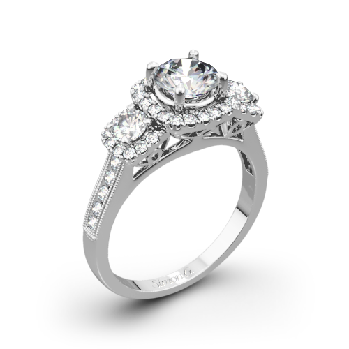 Simon G. NR464 Passion Three Stone Engagement Ring