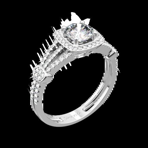 Simon G. TR418-D Delicate Halo Diamond Engagement Ring