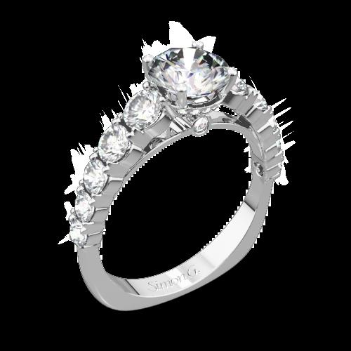 Simon G. TR426 Caviar Diamond Engagement Ring