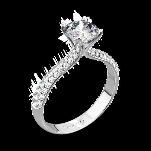 Simon G. TR431 Caviar Diamond Engagement Ring