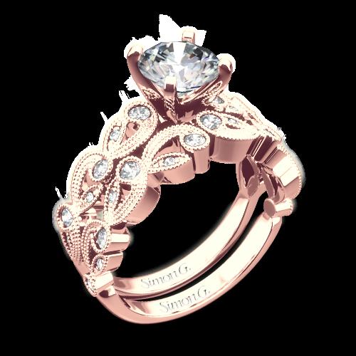 Simon G Tr473 Ss Diamond Wedding Set