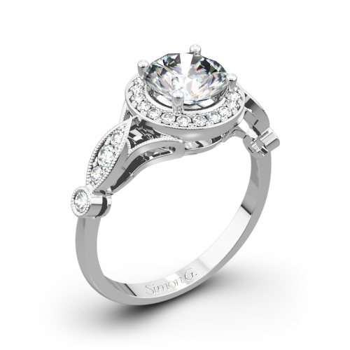 Simon G. TR523 Passion Halo Diamond Engagement Ring