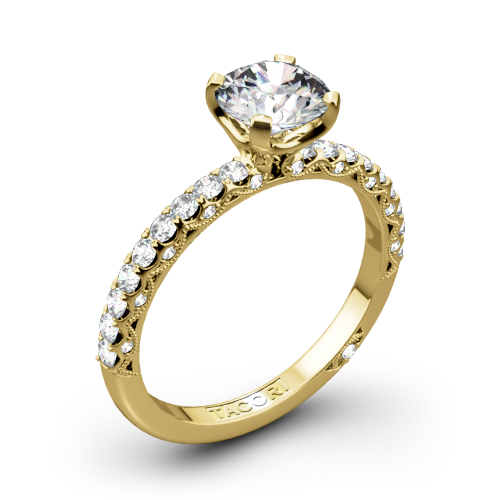 Tacori HT2545RD Petite Crescent Scalloped Millgrain Diamond Engagement Ring