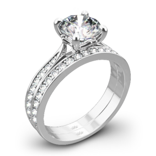 Legato Sleek Line Pave Diamond Wedding Set