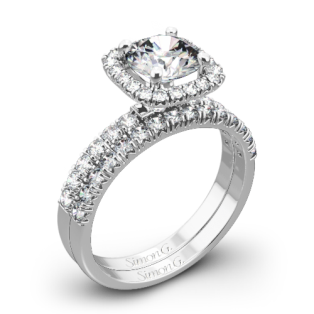 Simon G. MR2132 Passion Halo Diamond Wedding Set