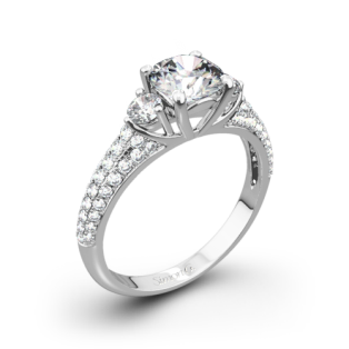 Simon G. MR2208 Caviar Three Stone Engagement Ring