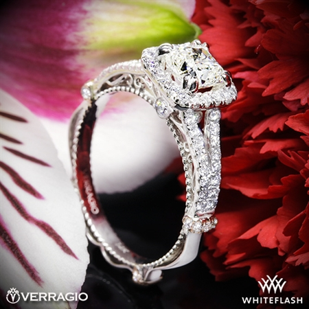 Verragio Parisian DL-107CU Pave Cushion Halo Diamond Engagement Ring
