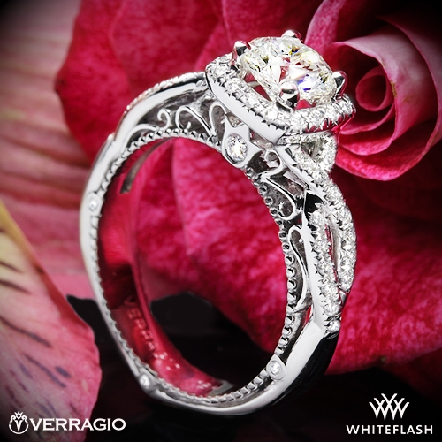 Verragio AFN-5005CU-2 4 Prong Cushion Halo Diamond Engagement Ring