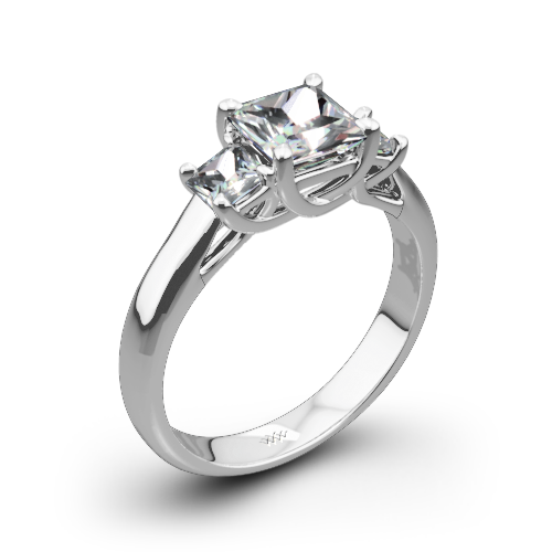 Trellis Three Stone Engagement Ring for Princess
