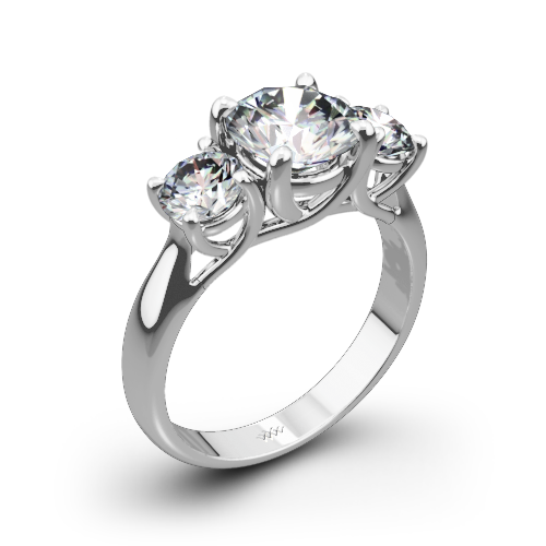 trellis three stone engagement ring - Stone Wedding Rings