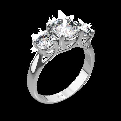 3 Stone Trellis Diamond Engagement Ring
