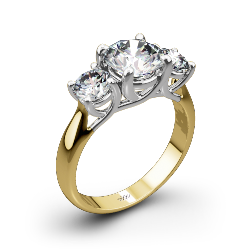 3 Stone Trellis Diamond Engagement Ring