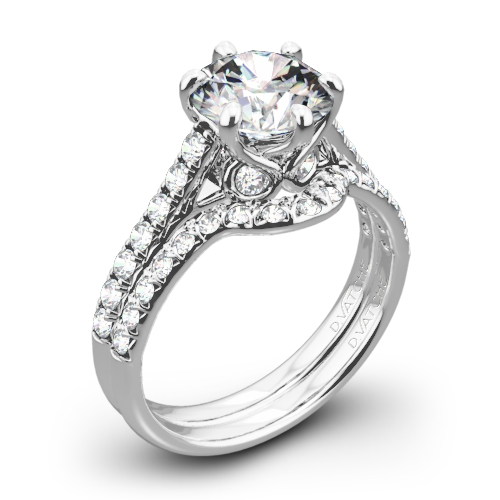 Vatche 1054 Swan French Pave Diamond Wedding Set