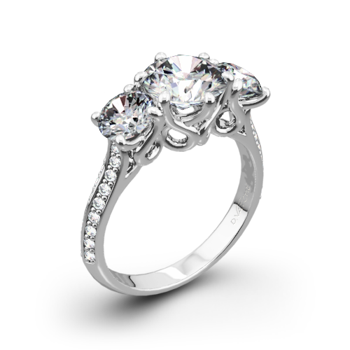 three stone with cut image ins engagement a wedding setting shows the center round ring c verragio this rings diamond brilliant