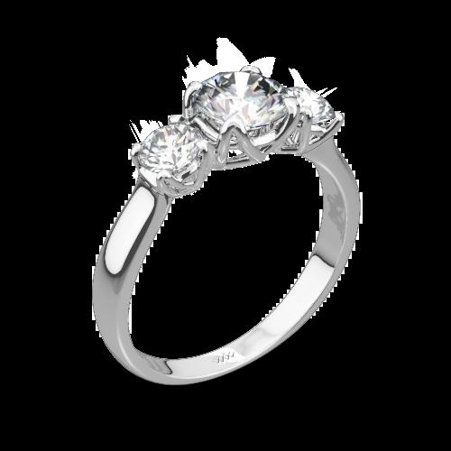 W-Prong Three Stone Engagement Ring