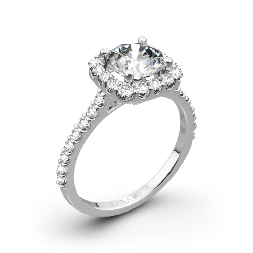 Ritani 1RZ1321 French-Set Halo Diamond Engagement Ring