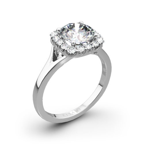 Ritani 1RZ1322 French-Set Halo Solitaire Engagement Ring