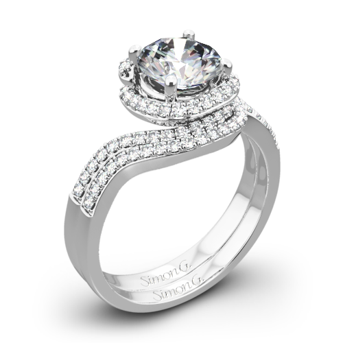 Simon G. MR2533 Passion Halo Diamond Wedding Set