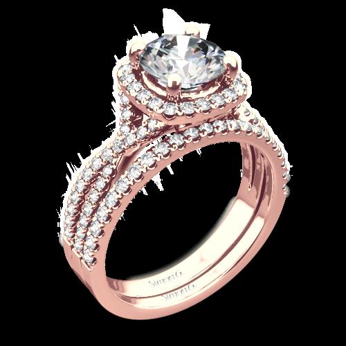 Simon G. NR468 Passion Halo Diamond Wedding Set