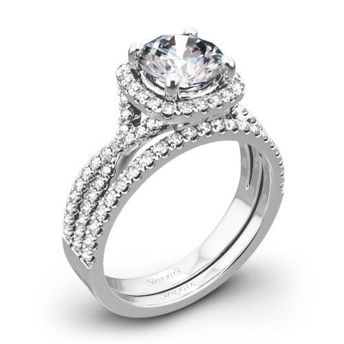 Simon G. NR468 Passion Halo Diamond Wedding Set
