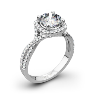Simon G. NR468 Passion Halo Diamond Engagement Ring