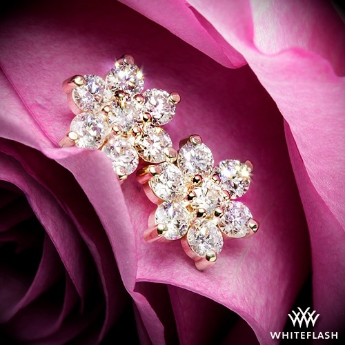 1 00ctw 14k Yellow Gold Flower Cer Diamond Earrings Meas 8 75mm