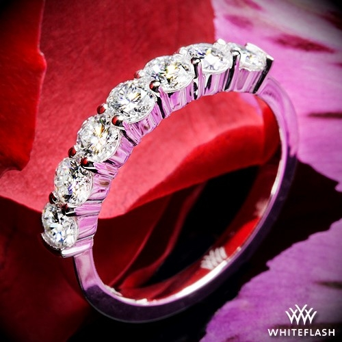 Seven Stone Shared-Prong Diamond Wedding Ring