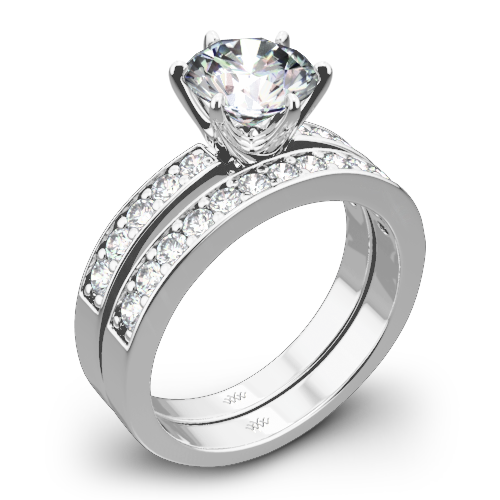 Bead-Set Diamond Wedding Set