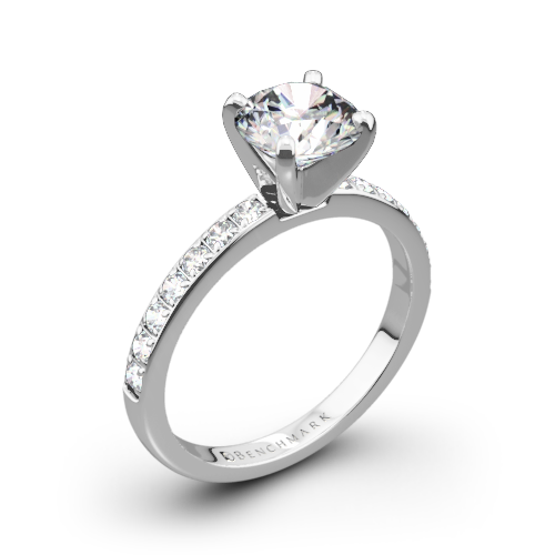 Benchmark Large Pave Diamond Engagement Ring