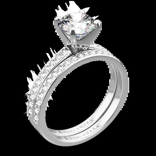 Benchmark LCP1 Small Pave Diamond Wedding Set