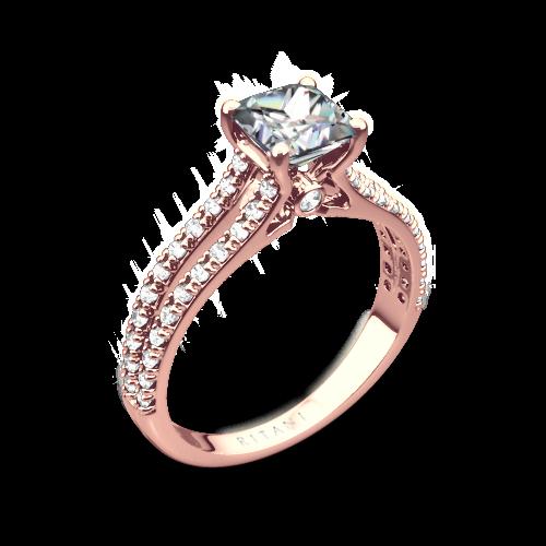 Ritani 1PCZ2488 Double French-Set V Diamond Engagement Ring for Princess