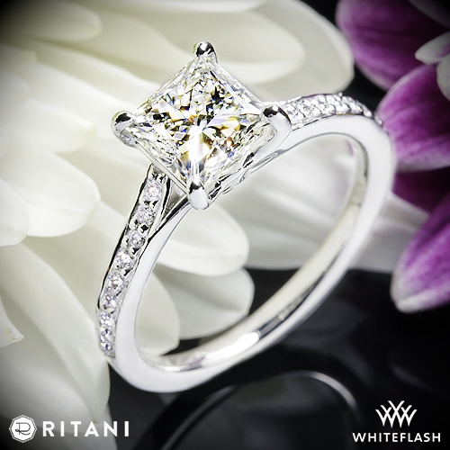 Ritani 1RZ2490 Modern Bypass Micropave Diamond Engagement Ring