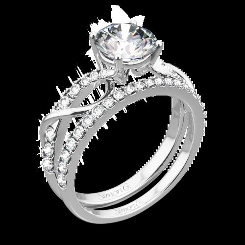 Simon G. MR2526 Fabled Crisscross Diamond Wedding Set