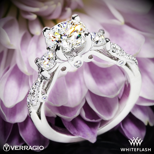 Verragio INS-7055R Twisted Shank Three Stone Engagement Ring