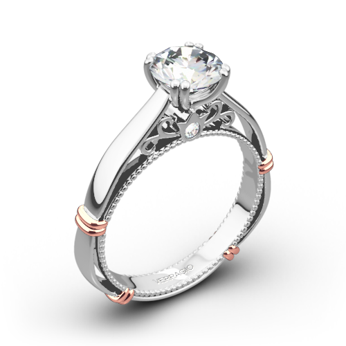 Verragio Parisian D-120 Split Claw 4 Prong with Rose Gold Shoulders Solitaire Engagement Ring