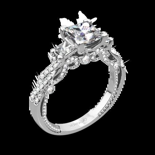 Verragio INS-7074P Beaded Braid Three Stone Engagement Ring for Princess