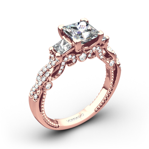 Verragio INS 7074P Beaded Braid Princess 3 Stone Engagement Ring