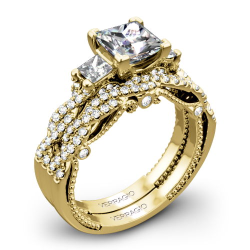 Verragio INS-7074P Braided Three Stone Wedding Set for Princess