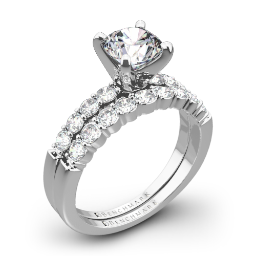 Benchmark SP4 Shared-Prong Diamond Wedding Set