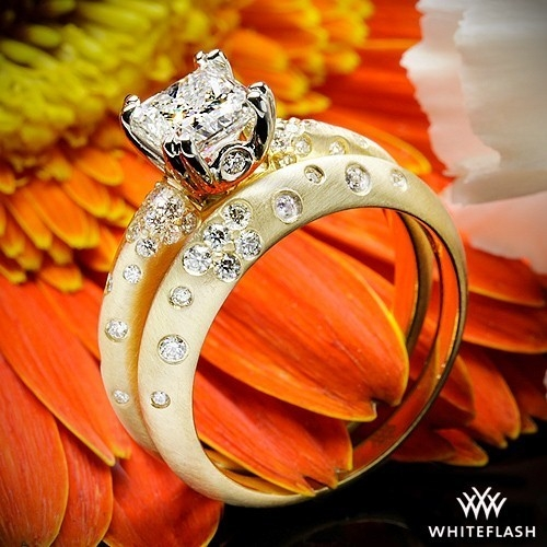 Champagne Petite Pave Diamond Wedding Set