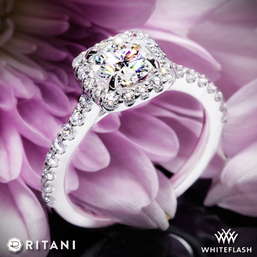 Ritani 1RZ1321 French-Set Cushion Halo Diamond Band Engagement Ring