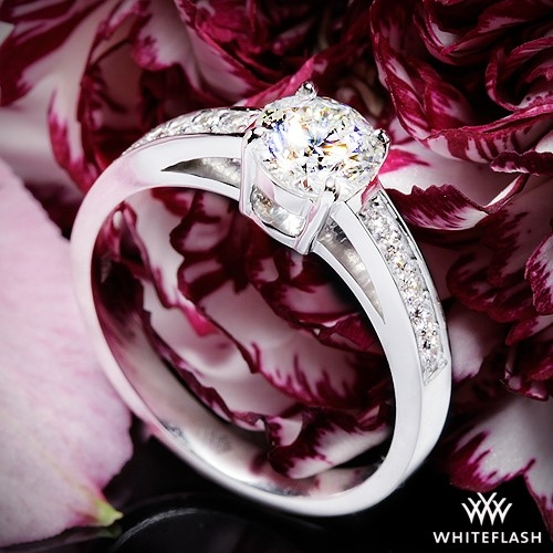 Rounded Open Cathedral Diamond Engagement Ring