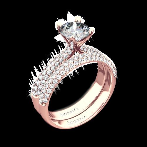 Simon G. TR431 Caviar Diamond Wedding Set