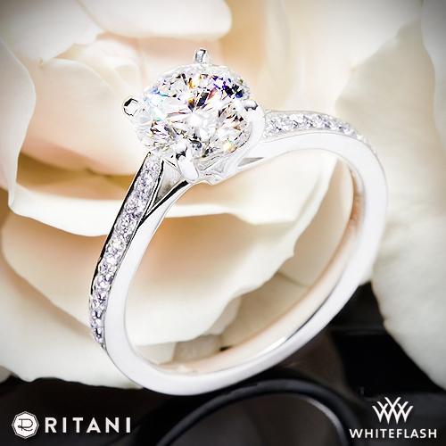 18k White Gold Ritani 1RZ2490 Modern Bypass Micropavé Diamond Engagement  Ring