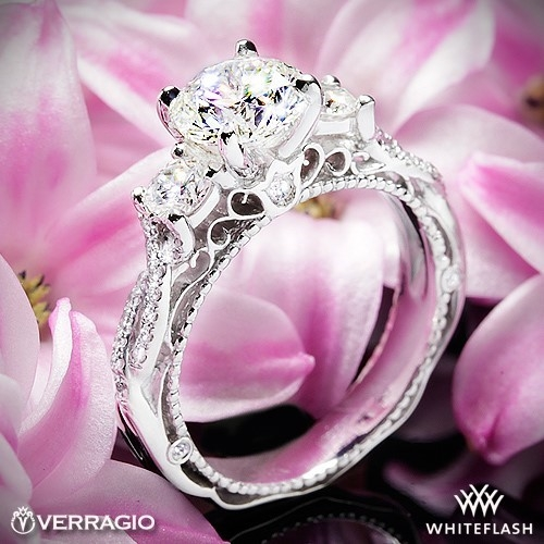 Verragio AFN-5013R-4 Beaded Twist 3 Stone Engagement Ring