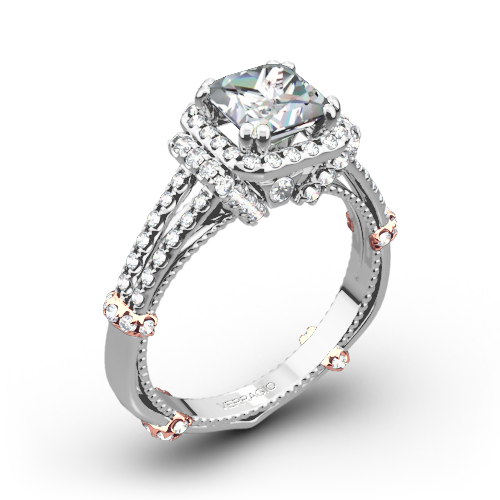 Verragio DL-117P Dual Claw Halo Diamond Engagement Ring for Princess