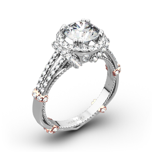 Verragio DL-117R Dual Claw Split Shank Halo Diamond Engagement Ring