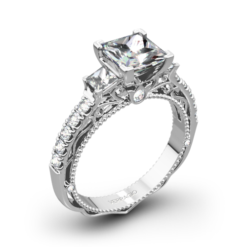 Verragio AFN-5058P-4 Scalloped Three Stone Engagement Ring for Princess